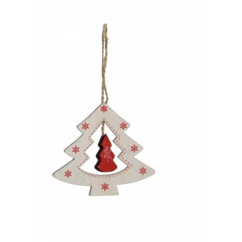 Прикраса декоративна Ялинка дерев`яна 9*8 см, House of Seasons, колір білий