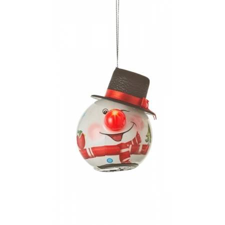 Прикраса декоративна Куля LED Сніговик 6,5 см, House of Seasons в ас., червоний