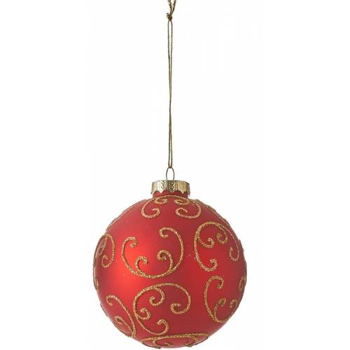 """Ялинкова скляна кулька """"Орнамент"""", 8 см., """"House of Seasons"""", колір червоний"""