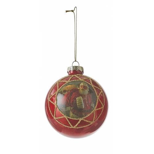 """Ялинкова скляна кулька """"Санта"""", 8 см., """"House of Seasons"""", колір червоний"""