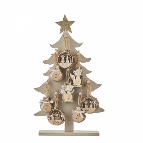 Прикраса декоративна, 10 см., Підвісна дерев'яна Ялина в ас., House of Seasons, колір коричневий