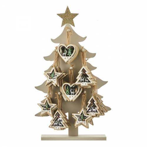 Прикраса декоративна, 10 см., Підвісна дерев'яна Ялина в ас., House of Seasons