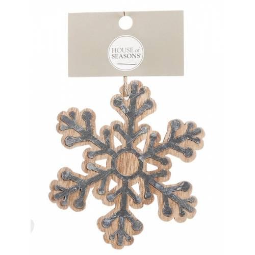 Прикраса декоративна дерев'яна, Сніжинка в асорт. 10 см, House of Seasons