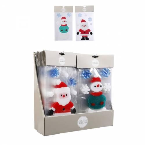 """Наклейка новорічна для вікон, 15.5х24 см, в ас-ті """"House of Seasons"""", Сніговик"""