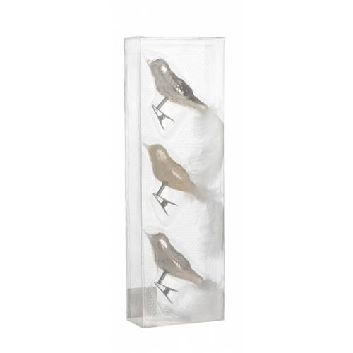 Прикраса кліпса декоративна Пташка, ком. 3 шт., колір сріблястий, House of Seasons