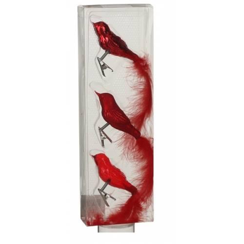 Прикраса кліпса декоративна Пташка, компл. 3 шт., колір червоний, House of Seasons