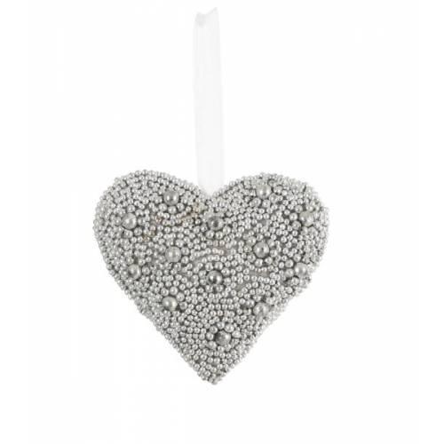 Прикраса декоративна Сердце сріблясте 10 см, House of Seasons