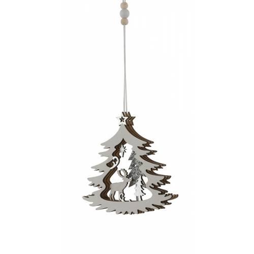 Прикраса декоративна дерев'яна Зимова сцена в асорт. 10 см, House of Seasons, ялинка