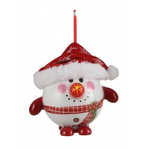 Прикраса декоративна Куля Новорічна LED, 8 см, House of Seasons, Сніговик