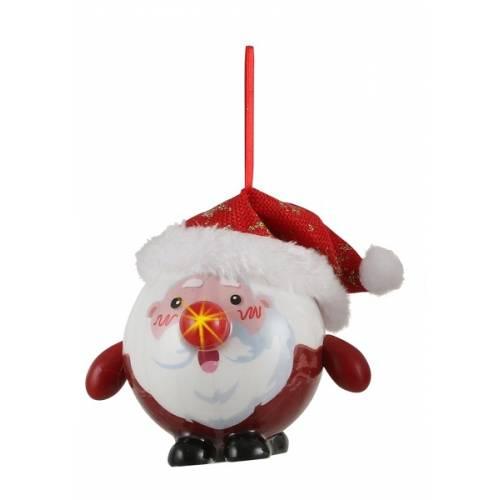 Прикраса декоративна Куля Новорічна LED, 8 см, House of Seasons, Санта золотий