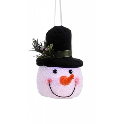 """Декоративна фігурка """"Сніговик"""", 14 см., """"Luca Lighting"""", чорний капелюх"""