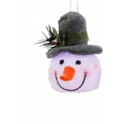 """Декоративна фігурка """"Сніговик"""", 14 см., """"Luca Lighting"""", сірий капелюх"""