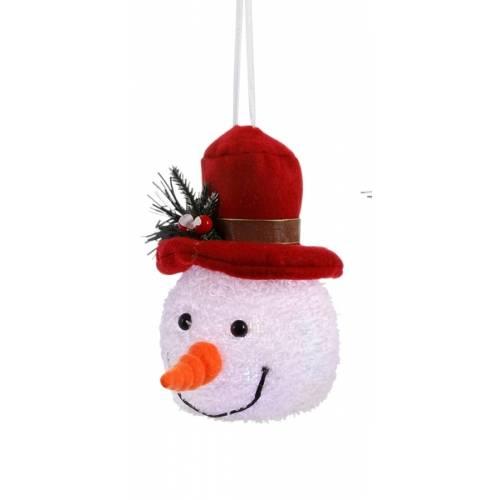 """Декоративна фігурка """"Сніговик"""", 14 см., """"Luca Lighting"""", червоний капелюх"""