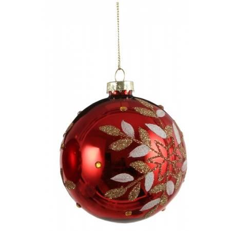 """Елочные стекляные шарики 8 см, красные в асс. """"House of Seasons"""", глянцевые"""