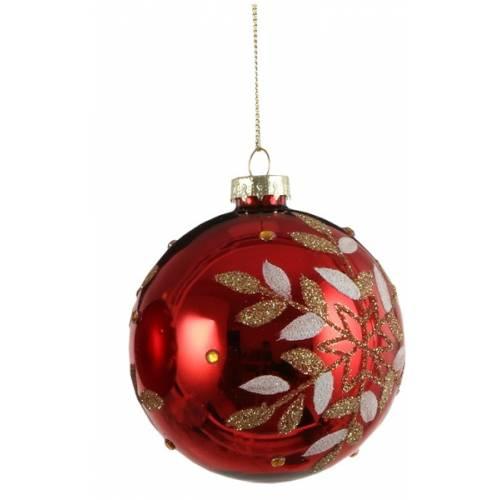 """Ялинкові скляні кульки 8 см, червоні в ас. """"House of Seasons"""", глянцеві"""