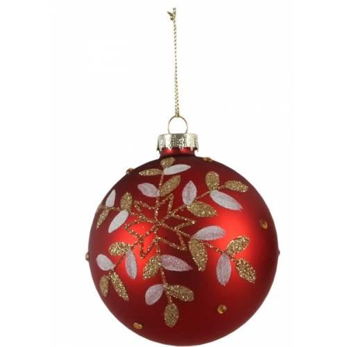 """Ялинкові скляні кульки 8 см, червоні в ас. """"House of Seasons"""", матові"""