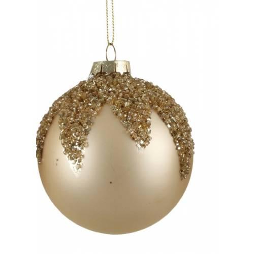 """Ялинкові скляні кульки шампань в ас., Ø 8 см., """"House of Seasons"""", Листок"""