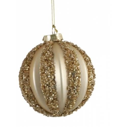 """Ялинкові скляні кульки шампань в ас., Ø 8 см., """"House of Seasons"""", Полоски"""