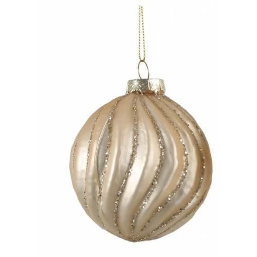 """Ялинкові скляні кульки шампань в ас., Ø 8 см., """"House of Seasons"""", Хвиля"""