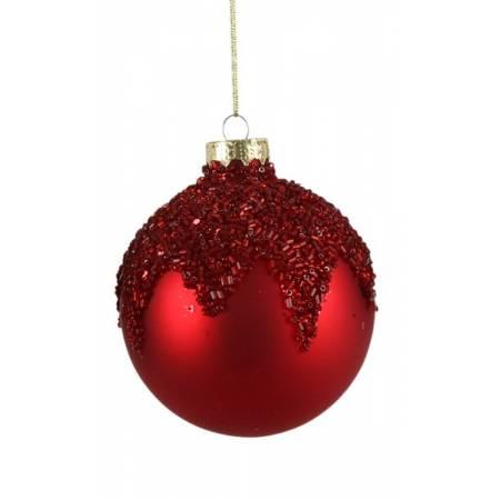 """Елочные стеклянне шарики красные в асс., Ø 8 см., """"House of Seasons"""", Лист"""