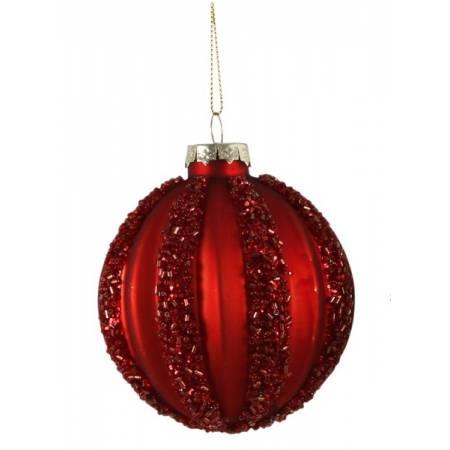 """Елочные стеклянне шарики красные в асс., Ø 8 см., """"House of Seasons"""", Полосы"""
