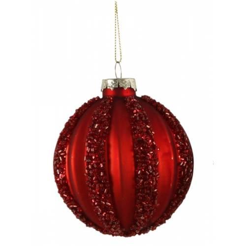 """Ялинкові скляні кульки червоні в ас., Ø 8 см., """"House of Seasons"""", Полоски"""