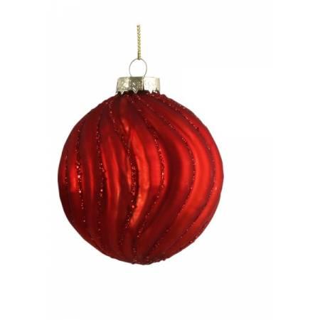 """Елочные стеклянне шарики красные в асс., Ø 8 см., """"House of Seasons"""", Волна"""