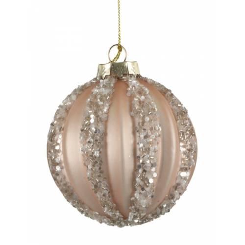 """Ялинкові скляні кульки рожеві в ас., Ø 8 см., """"House of Seasons"""", Полоски"""