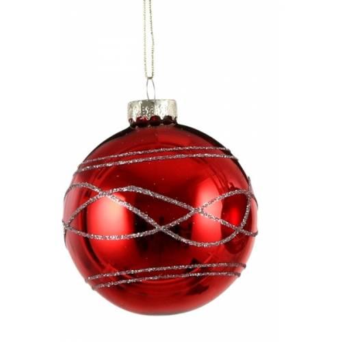 """Елочные стекляные шарики Орнамент, в асс., Ø 7 см., """"House of Seasons"""", красные, глян."""