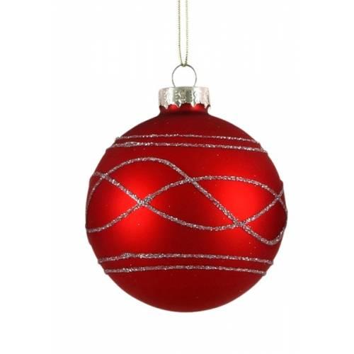 """Елочные стекляные шарики Орнамент, в асс., Ø 7 см., """"House of Seasons"""", красные, мат."""