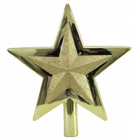 Верхушка на елку, 25,5 см, Звезда, пластик, цвет золотой