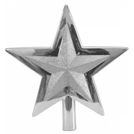 Верхушка на елку, 25,5 см, Звезда, пластик, цвет серебро
