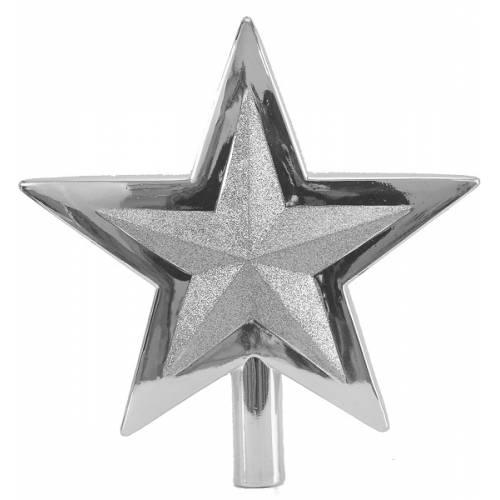 Верхівка на ялинку, 25,5 см, Зірка, пластик, колір срібло
