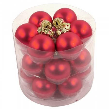 Набір кульок, 18 шт, 3 см, глянець, пластик, колір червоний