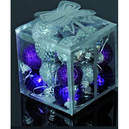 Набір кульок, 20 шт, 3 см, з блискітками, пластик, колір сріблястий, фіолетовий