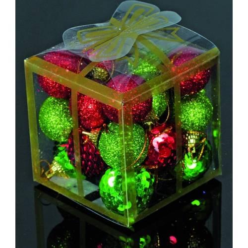 Набір кульок, 20 шт, 3 см, з блискітками, пластик, колір червоний, зелений