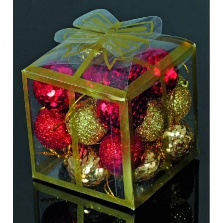 Набір кульок, 20 шт, 3 см, з блискітками, пластик, колір золотий, червоний