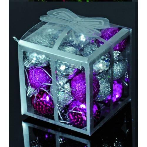 Набір кульок, 20 шт, 3 см, з блискітками, пластик, колір сріблястий, рожевий