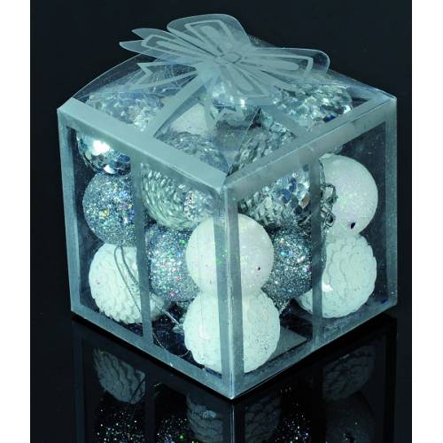 Набір кульок, 20 шт, 3 см, з блискітками, пластик, колір сріблястий, білий