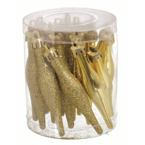 Набір ялинкових прикрас, 9,5 см, Бурулька, 18 шт, пластик, колір золотий