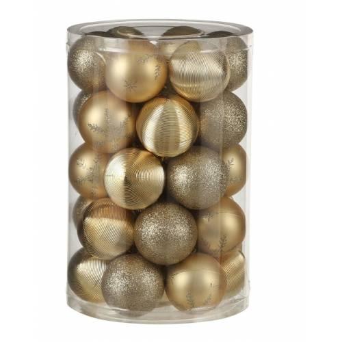 """Ялинкові кульки пластикові, 34 шт., """"House of Seasons"""" комплект, колір золотий"""