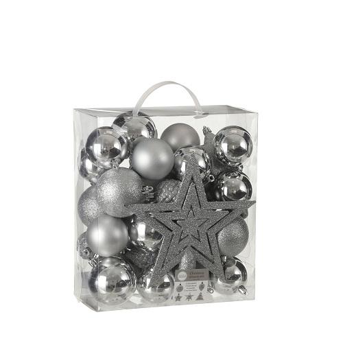 """Ялинкові пластикові кульки 40 шт, """"House of Seasons"""" комплект, сірі"""