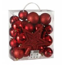 """Ялинкові пластикові кульки 40 шт, """"House of Seasons"""" комплект, червоні"""