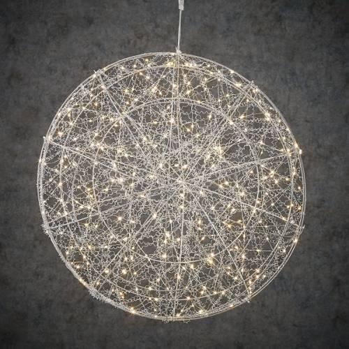 """Куля декоративна срібло, 60 см, 320 led, мерехтлива, """"Luca Lighting"""""""