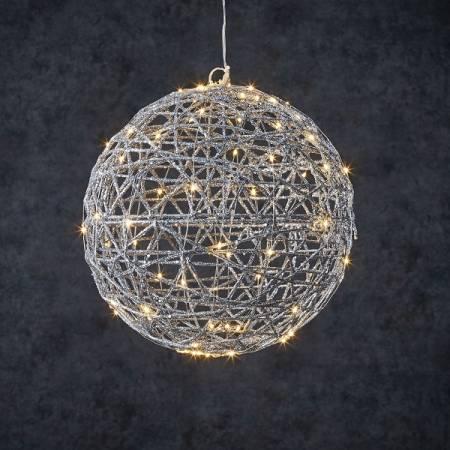 """Шар декоративный серебряный, 33 см, 80 led """"Luca Lighting"""""""