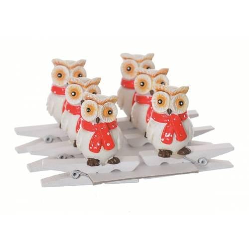 """Прищіпки декоративні 6 шт """"Сова"""", пластик, 4.5 см білі з червоним, """"Jumi"""""""