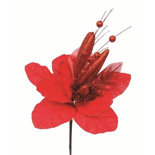 Прикраса декоративна Квітка, 40 см, текстиль, колір червоний