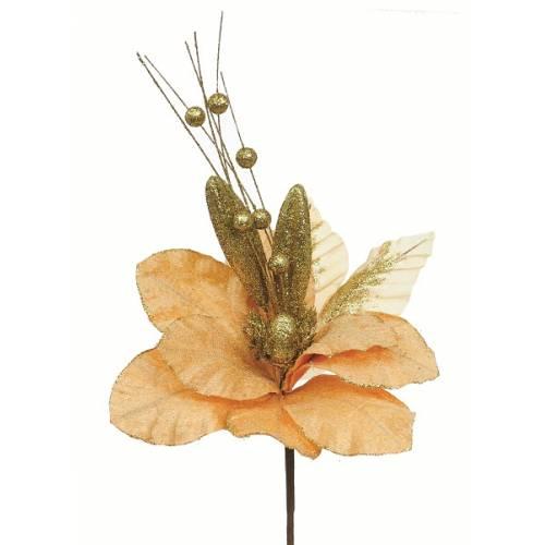 Прикраса декоративна Квітка, 40 см, текстиль, колір золотий