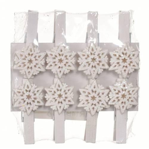 """Прищіпки декоративні 8 шт """"Сніжинка"""", пластик, білі, 4.5 см """"Jumi"""""""
