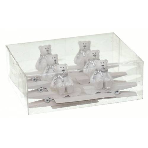 """Прищіпки декоративні 8 шт """"Ведмідь"""", пластик, білі, 4.5 см """"Jumi"""""""